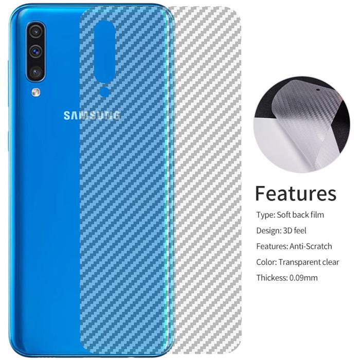Miếng dán mặt lưng Galaxy A50 / A30s vân carbon trong suốt - chống vân tay