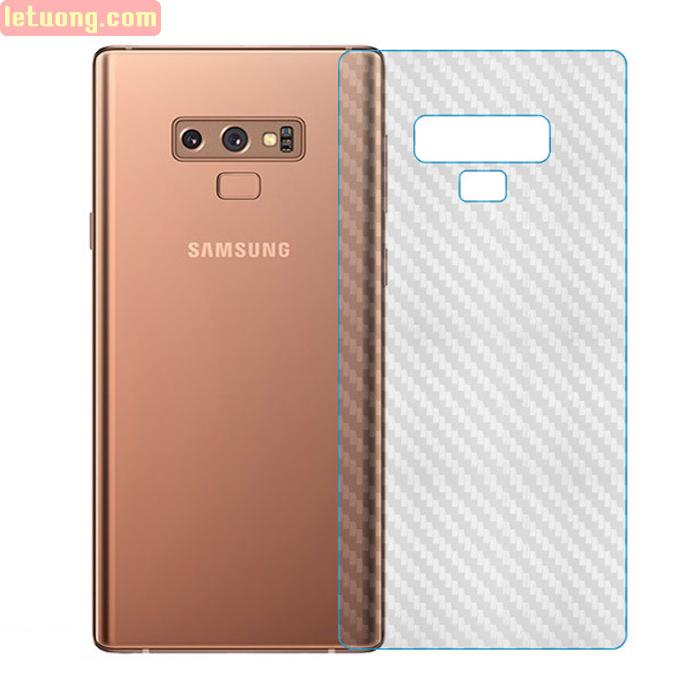 Miếng dán full mặt lưng Galaxy Note 9 vân Carbon chống vân tay