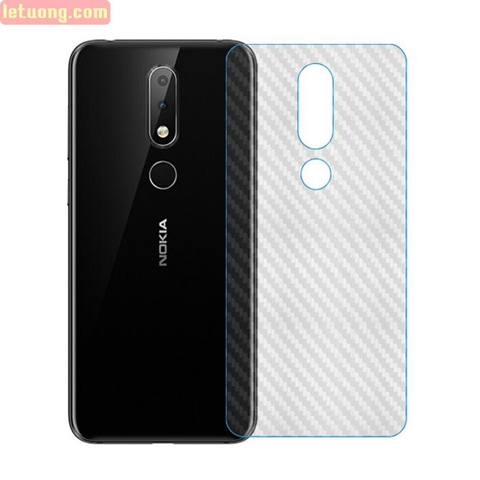 Miếng dán mặt lưng Nokia X6 / Nokia 6.1 Plus vân carbon trong suốt - chống vân tay
