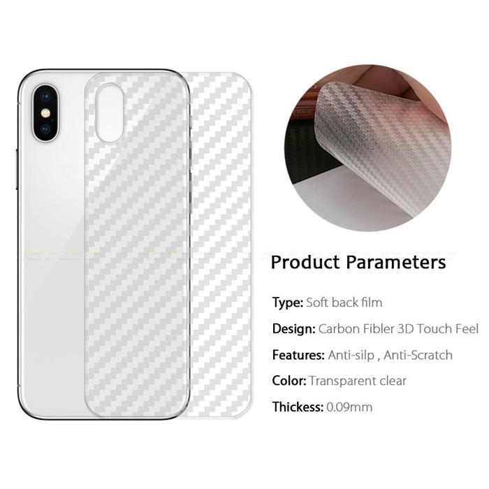 Miếng dán full mặt lưng iPhone Xs Max vân Carbon trong suốt - chống vân tay