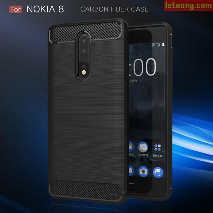 Ốp lưng Nokia 8 Viseaon Rugged Armor Carbon nhựa mềm chống sốc