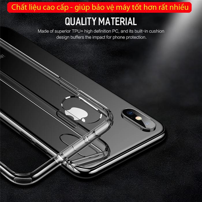 Ốp lưng iPhone Xs Max Rock Pure Series trong suốt viền mềm + tặng dán lưng Carbon