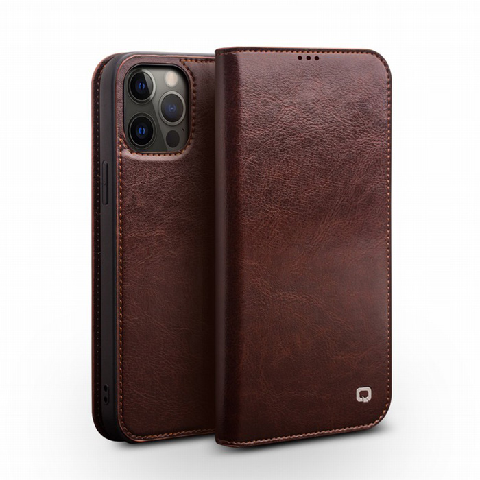 Bao da iPhone 12 Pro, iPhone 12 Qialino Classic Leather Hanmade da thật