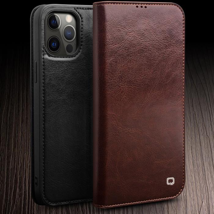 Bao da iPhone 12 Pro, iPhone 12 Qialino Classic Leather Hanmade da thật