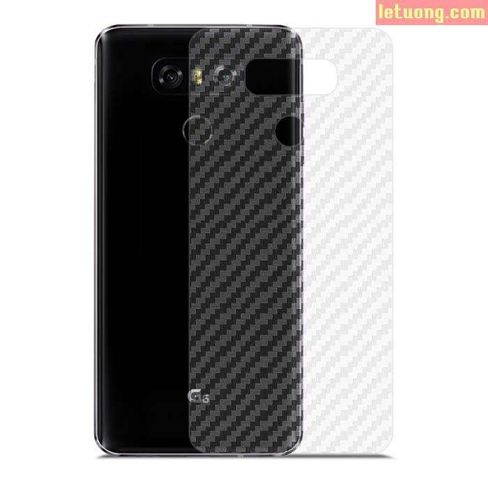 Miếng dán mặt lưng LG G6 vân Carbon chống vân tay trong suốt