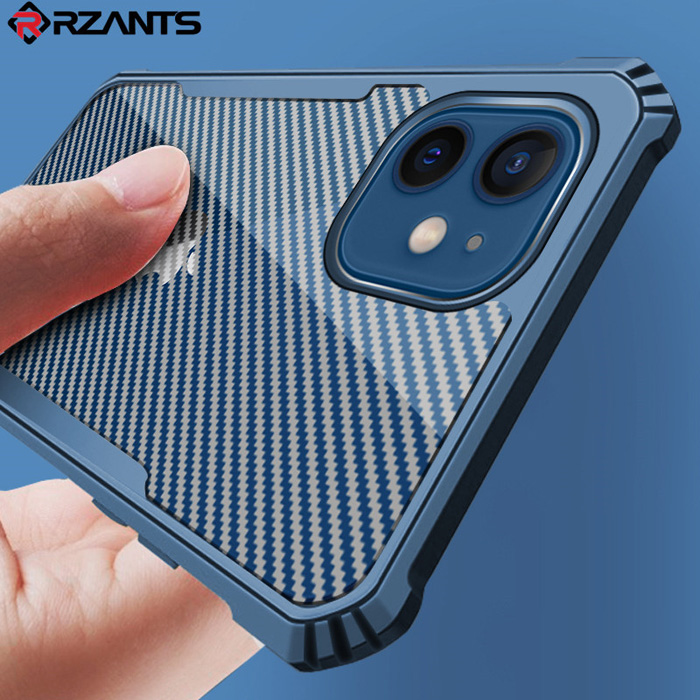 Ốp lưng iPhone 12 / 12 Pro Rzants Armor Carbon trong suốt - vân carbon cực đẹp