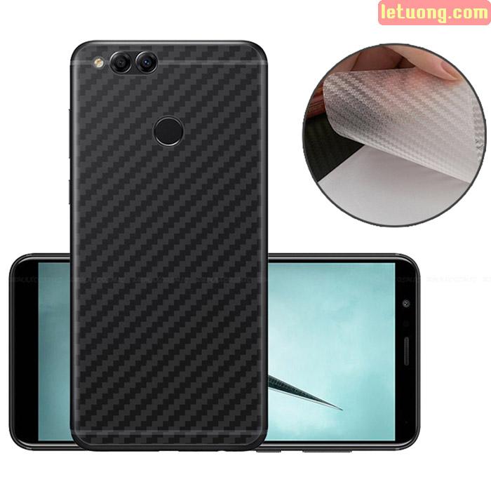 Miếng dán mặt lưng Huawei Honor 7X vân carbon - chống vân tay