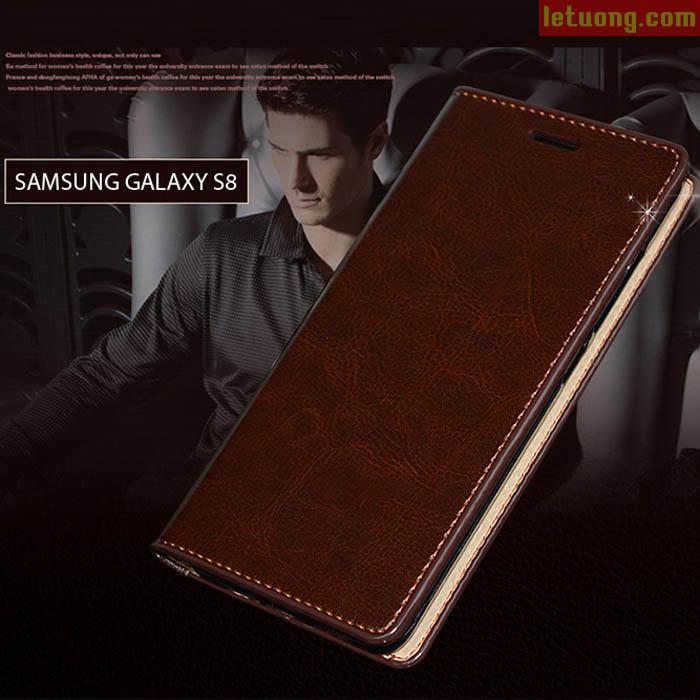 Bao da Galaxy S8 Haoyue Wallet da thật với 4 ngăn ví đựng tiền và thẻ