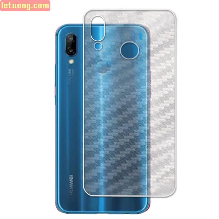 Miếng dán mặt lưng Huawei Nova 3E vân carbon - chống vân tay