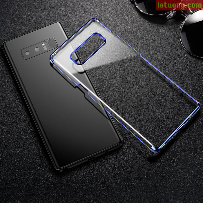 Ốp lưng Galaxy Note 8 Baseus Glitter trong suốt, viền mạ Crom sáng bóng