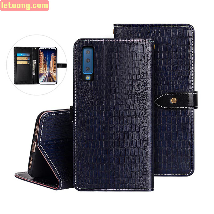 Bao da Galaxy A7 2018 Idewei Flip Wallet Crocodile vân cá sấu - dạng ví đa năng
