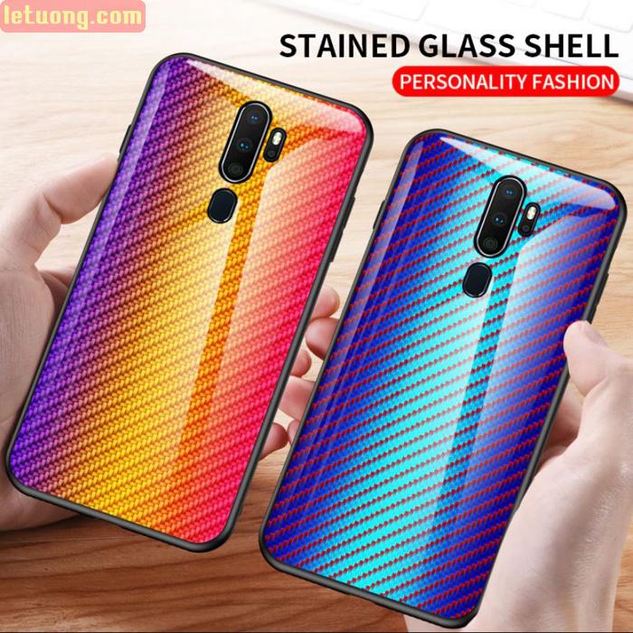 Ốp lưng Oppo A5 2020 LT Glass Carbon 3D Cực độc, Rất đẹp