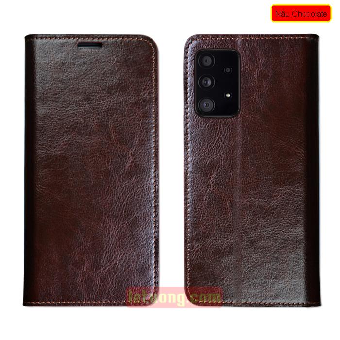 Bao da Samsung A52, A52 5G LT Wallet Handmade da bò tự nhiên