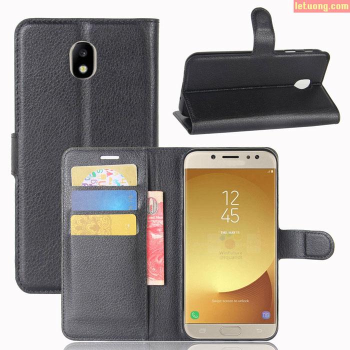 Bao da Samsung Galaxy J7 Pro LT Flip Wallet dạng ví đa năng, khung mềm