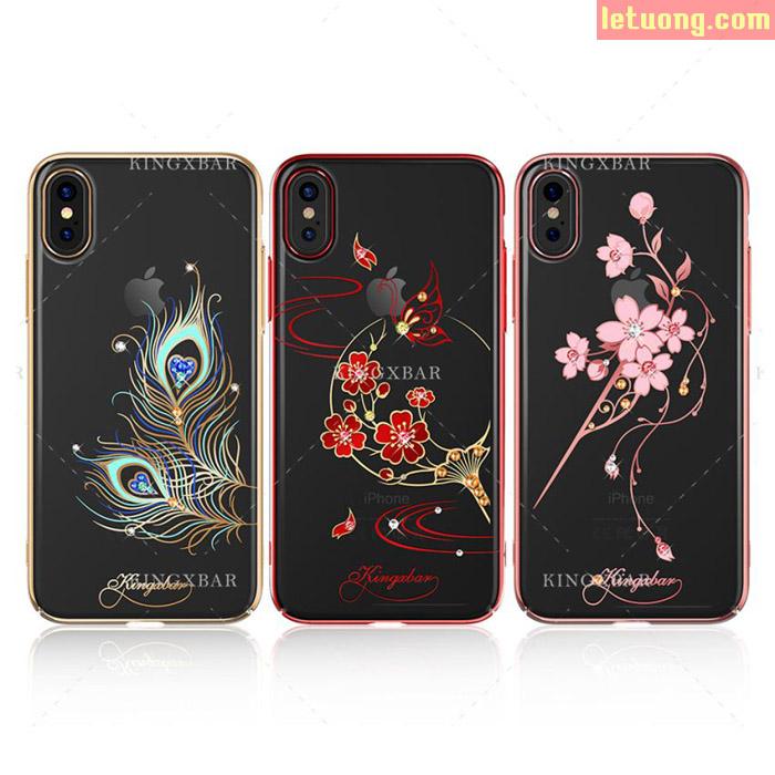 Ốp lưng iPhone Xs / iPhone Xs Kingxbar Swarovski Crystal + Tặng dán lưng Carbon