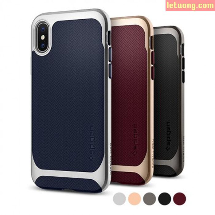 Ốp lưng iPhone X / iPhone Xs Spigen Neo Hybrid viền kép ( USA ) + tặng dán lưng Carbon