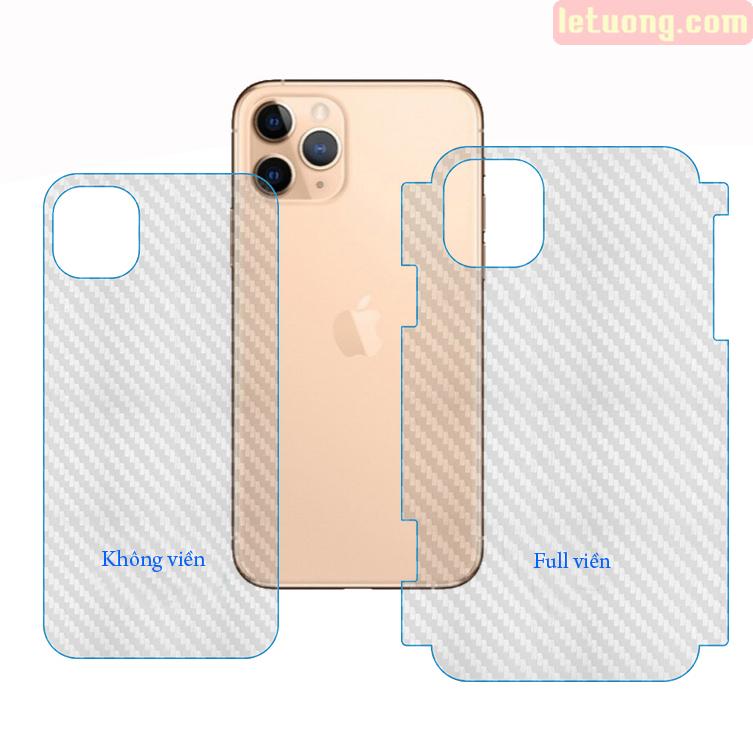 Miếng dán mặt lưng VIỀN iPhone 11 Pro Max vân Carbon 3D - chống vân tay