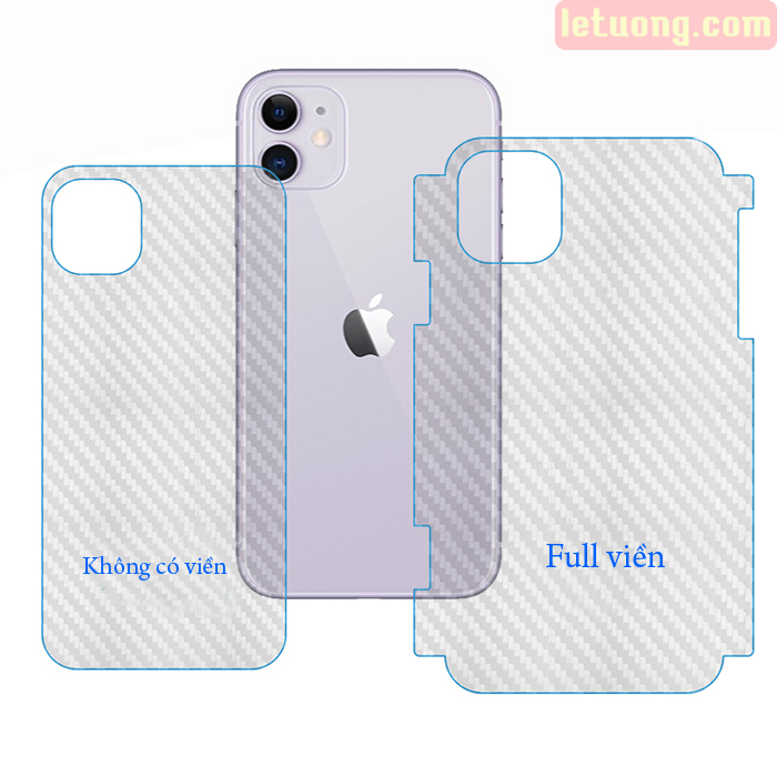 Miếng dán mặt lưng VIỀN iPhone 11 vân Carbon 3D - chống vân tay