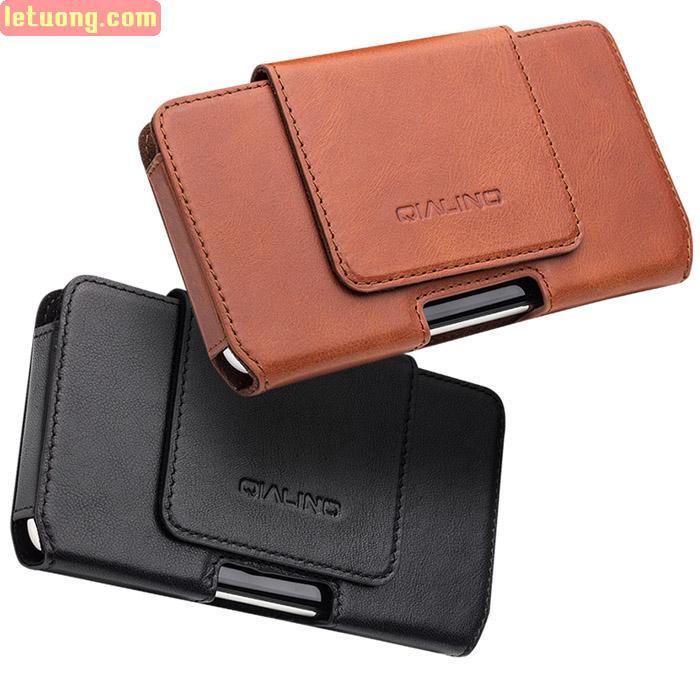 Bao da đeo thắt lưng Iphone X  Qialino Premium da thật Hanmade