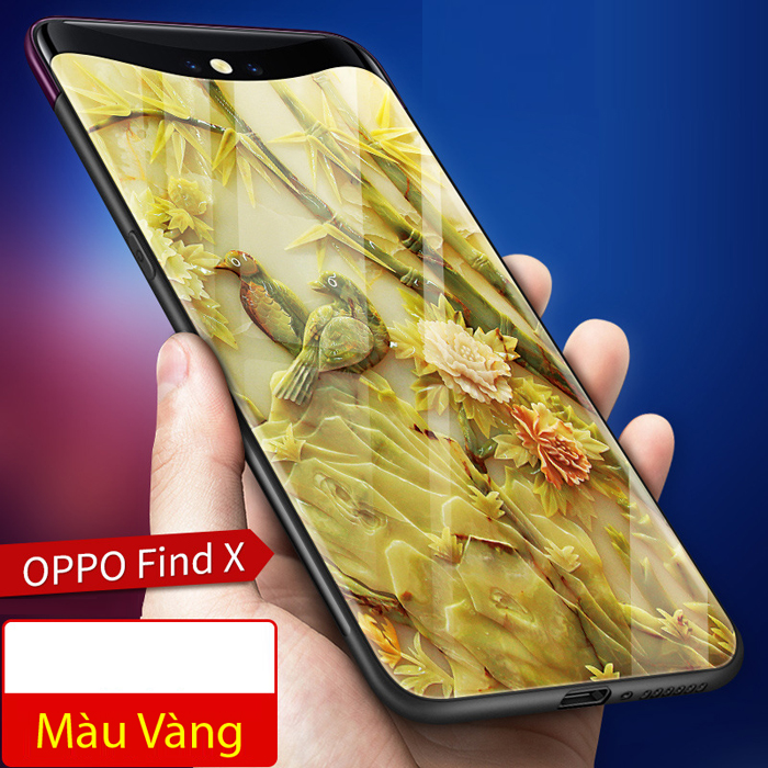 Ốp lưng Oppo Find X LT Glass Case 9H lưng kính cường lực in hình 3D