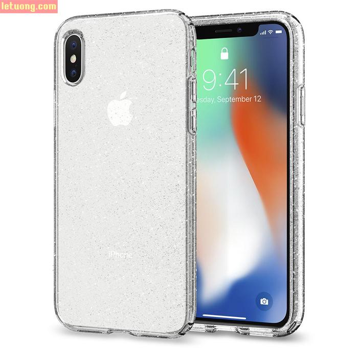 Ốp lưng iPhone X / iPhone Xs Spigen Liquid Crystal Glitter kim tuyến ( USA ) + tặng dán lưng Carbon