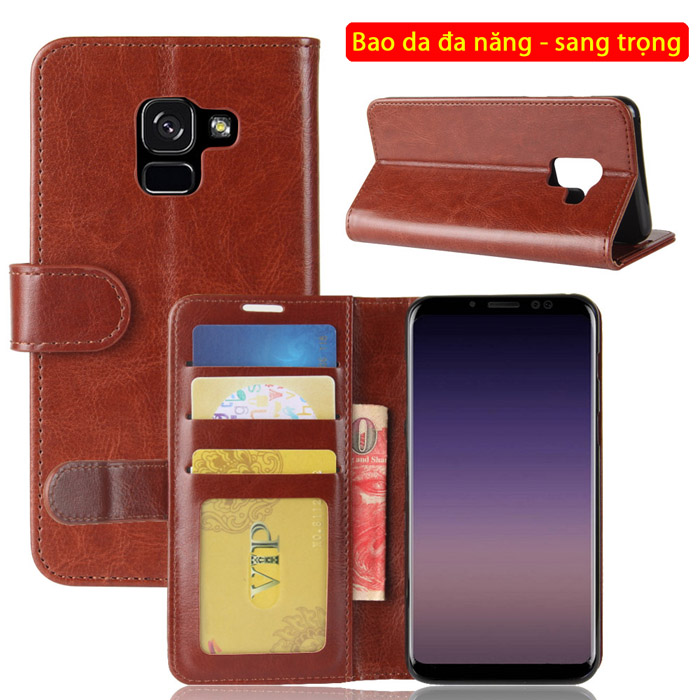 Bao da Galaxy A8 2018 LT Wallet Leather đa năng khung mềm