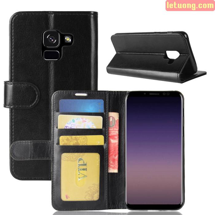 Bao da Galaxy A8 Plus 2018 / A8+ 2018 LT Wallet Leather đa năng, khung mềm