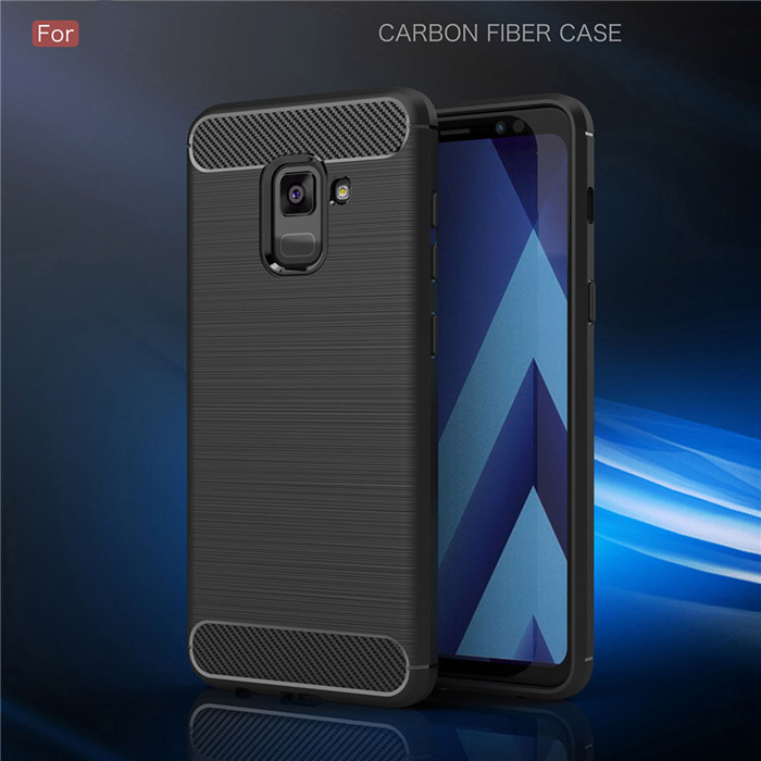Ốp lưng Galaxy A8 2018 Viseaon Rugged Armor Carbon nhựa mềm
