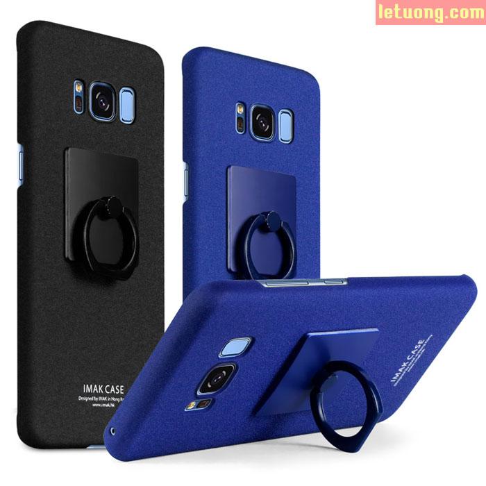 Ốp lưng Galaxy S8 Plus Imak Cowboy vân cát + Móc Treo + dán lưng Carbon