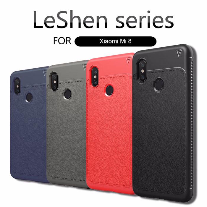 Ốp lưng Xiaomi Mi 8 Leshen Serie vân da sang trọng - chống vân tay