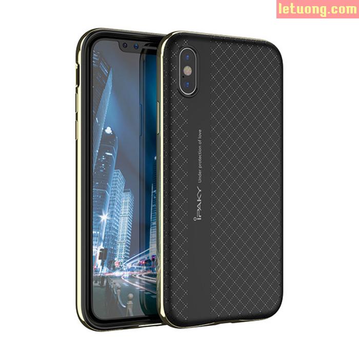 Ốp lưng iPhone Xs / iPhone X Ipsaky Neo Hybrid viền kép + tăng dán lưng Carbon