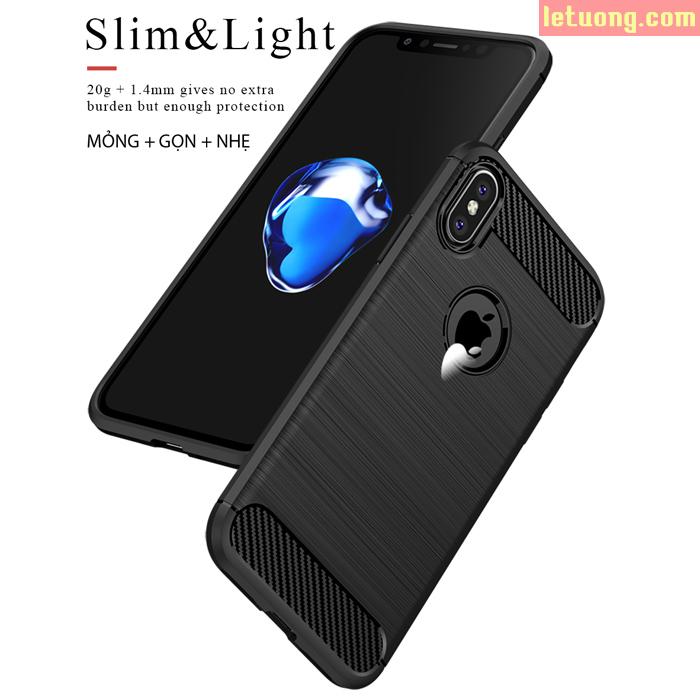 Ốp lưng Iphone X ( Iphone 10 ) Ipaky Case Carbon chống vân tay