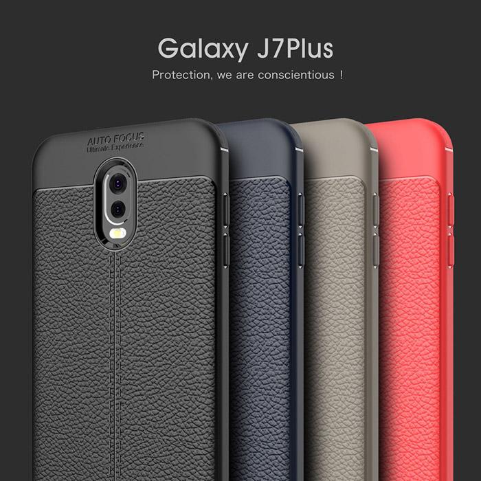 Ốp lưng Galaxy J7 Plus ( J7+ ) LT Armor vân da chống vân tay