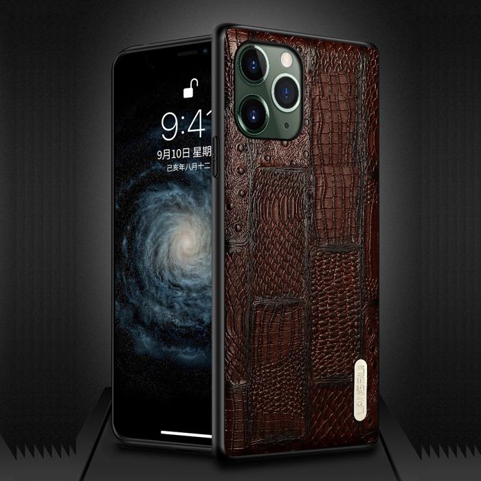 Ốp lưng iPhone 11 Pro Max Langsidi Leather Retro da thật vân cá sấu