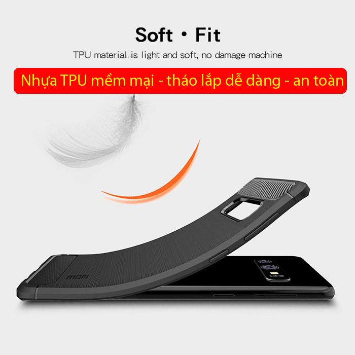 Ốp lưng Galaxy S10E Mofi Shen Du Carbon nhựa mềm - chống vân tay