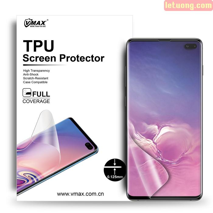 Miếng dán full màn hình Galaxy S10 Plus Vmax 3D Curved TPU, tặng dán lưng Carbon