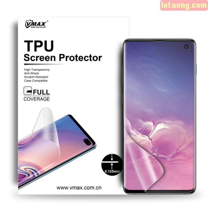 Miếng dán full màn hình Galaxy S10 Vmax 3D Curved TPU + Tặng dán lưng Carbon