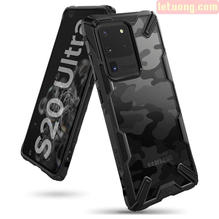 Ốp lưng Galaxy S20 Ultra Ringke Fusion X Camo chống sốc quân đội ( từ USA )