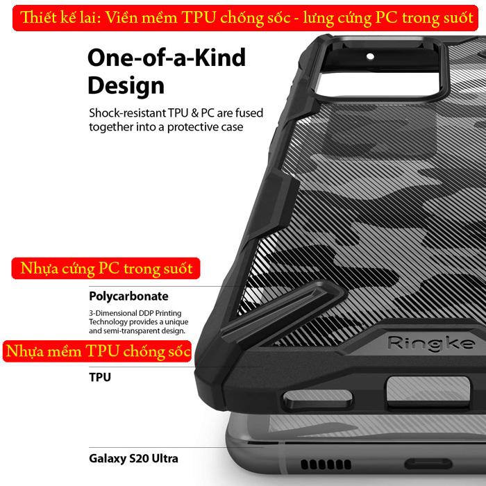 Ốp lưng Galaxy S20 Ultra Ringke Fusion X Camo ( từ USA )