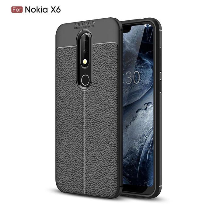 Ốp lưng Nokia X6 2018 / Nokia 6.1 Plus LT Leather Design Case vân da - sang trọng