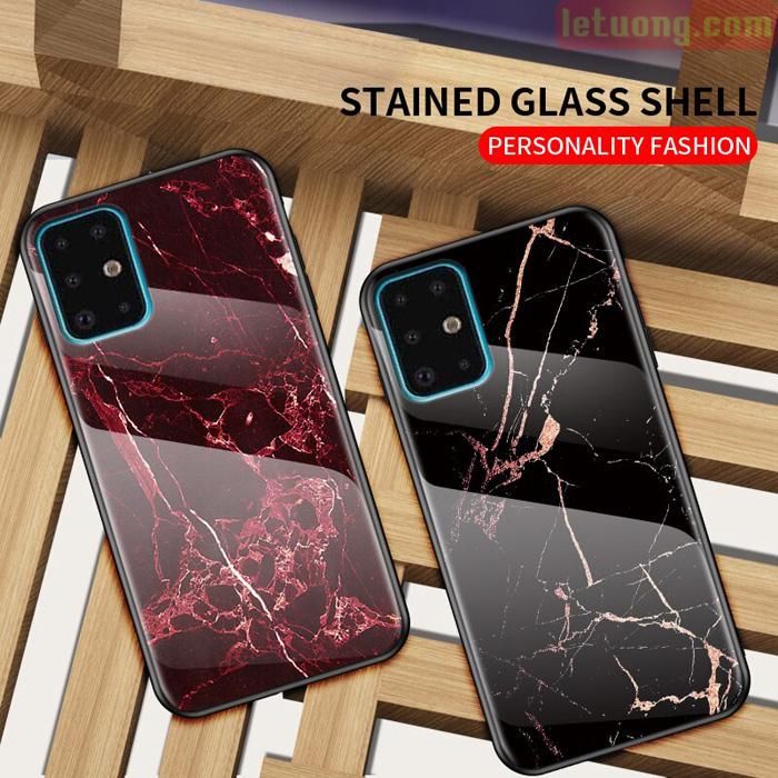 Ốp lưng Galaxy A71 LT Glass Shell 3D lưng kính cường lực vân đá