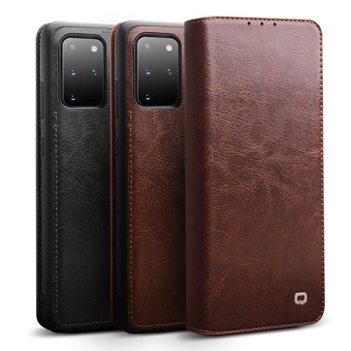 Bao da Galaxy S20 Plus Qialino Classic Leather Wallet da thật Hanmade