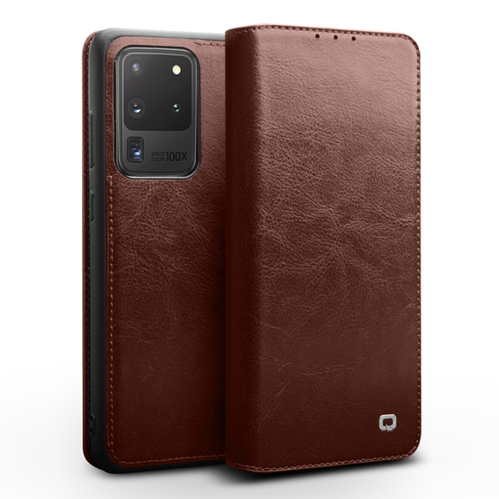 Bao da Galaxy S20 Ultra Qialino Classic Leather Wallet da thật Hanmade