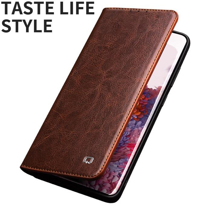 Bao da Galaxy S20 Plus Qialino Classic Leather Wallet da thật Hanmade
