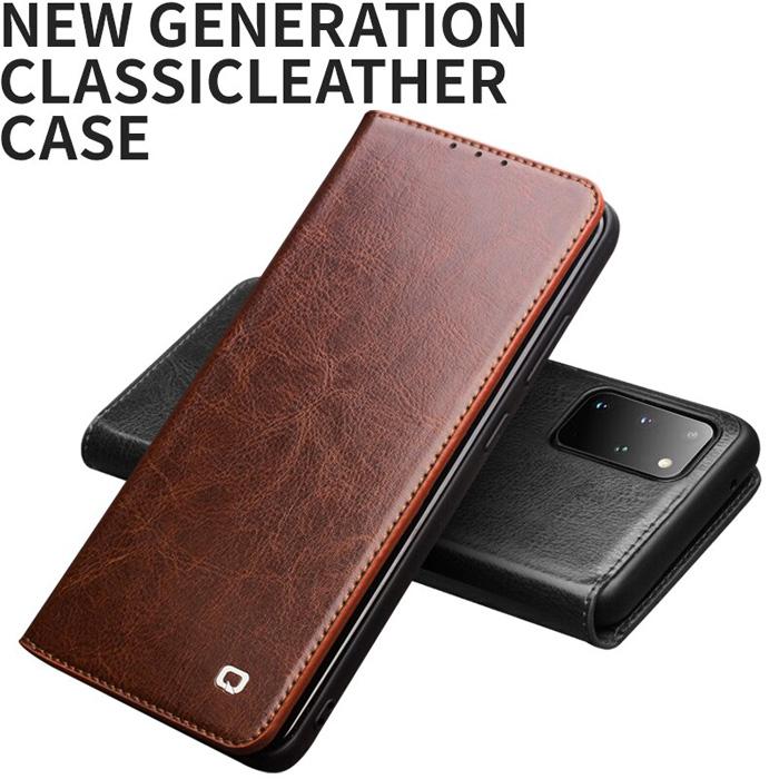 Bao da Galaxy S20 Ultra Qialino Classic Leather Wallet da thật Hanmade