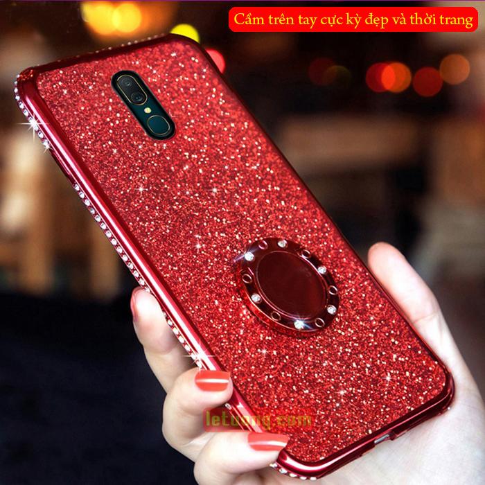 Combo Ốp lưng Oppo F11 Pro LT Glitter Iring đính đá + Móc Treo + Dây đeo
