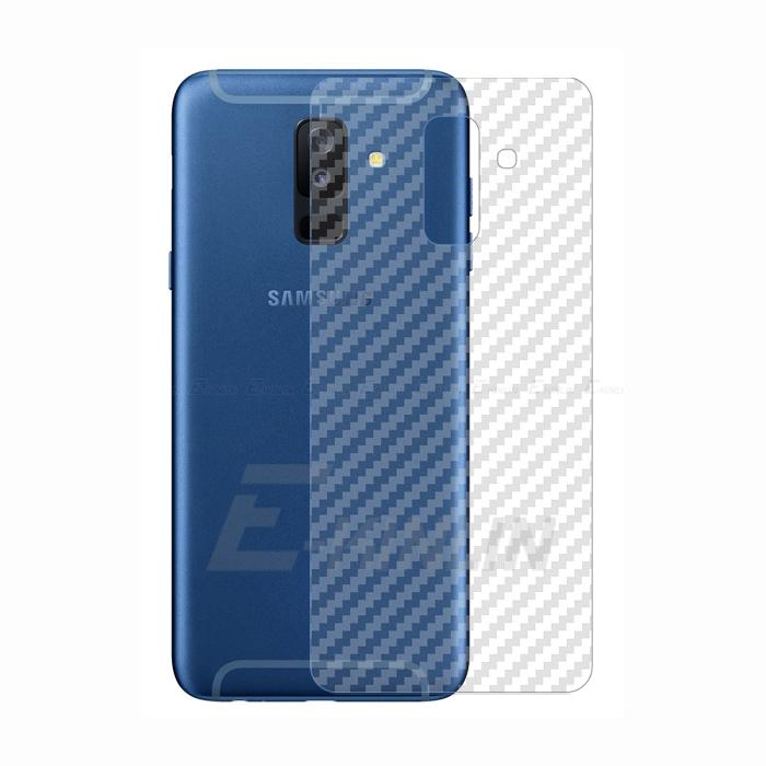 Miếng dán full mặt lưng Galaxy A6 Plus 2018 vân Carbon chống vân tay - trong suốt