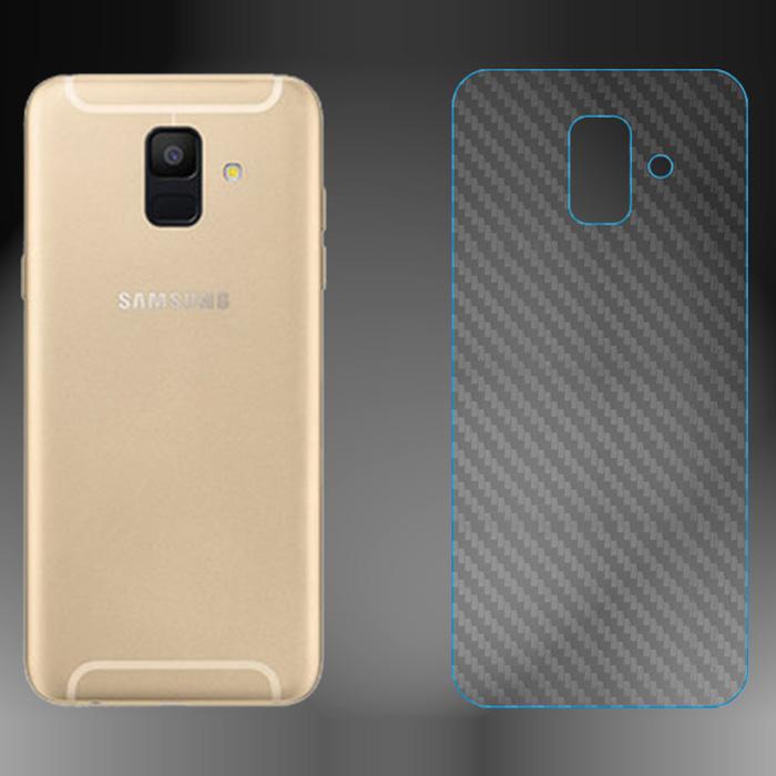 Miếng dán full mặt lưng Galaxy A6 2018 vân Carbon chống vân tay - trong suốt