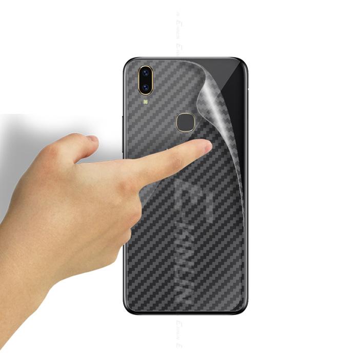 Miếng dán full mặt lưng Galaxy A8 Star vân Carbon chống vân tay - trong suốt