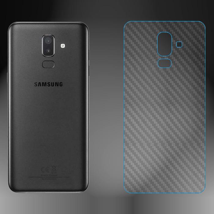 Miếng dán full mặt lưng Galaxy J8 2018 vân Carbon chống vân tay - trong suốt